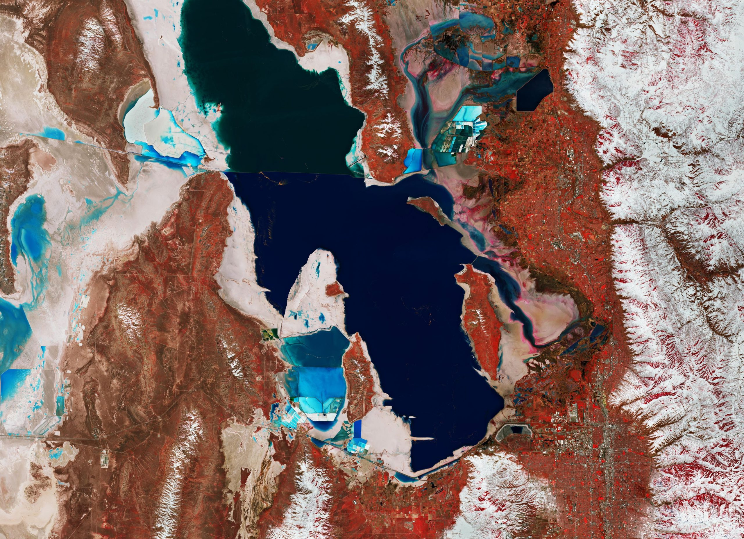 Great Salt Lake Utah - This image, which was taken on 17 March 2019 by ESA's Sentinel-2