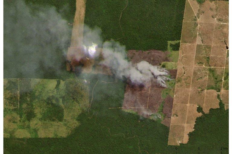 Satellite Images of Burning Amazon Forests